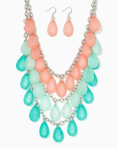 North Shore Tiered Necklace Set | UPC: 410007354929 Beach Glass COTM Seafoam Coral