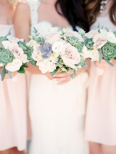 rose bouquets with mini succulents | small bridesmaid bouquet | Photography: Rachel Solomon - www.rachel-solomon.com