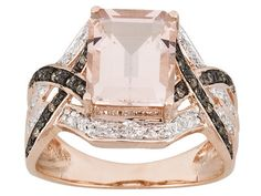Cor-de-rosa Morganite 3.00ct Emerald cut with white & champagne 16ctw 10k rose gold ring