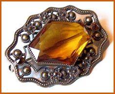 "Vintage Czech Brooch or Pin Golden Topaz Glass Stone Gold Metal Art Nouveau 2"" EX CIJ Sale. $34.50, via Etsy."