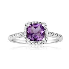 1 3/4ct Cushion Cut Amethyst and Diamond Ring in Sterling Silver