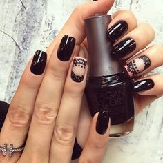 Black nails ideas, Casual nails, Dark nails, Evening dress nails, Everyday nails, Fashion nails trends 2016, Lace nails, Long nails