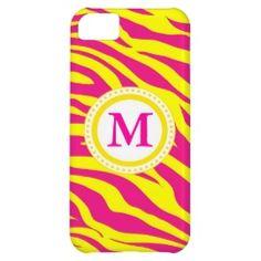 Monogram Hot Pink Yellow Zebra Wild Animal Print iPhone 5C Case
