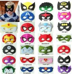 superhero masks with a kid wearing one