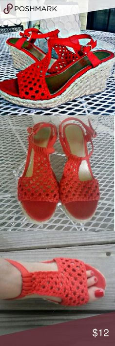 FADED GLORY CROCHETED WOVEN WEDGES Beautiful coral colored WOVEN wedges! Barely worn, great condition!  So cute with white shorts or capris! Size 9 Faded Glory Shoes Wedges
