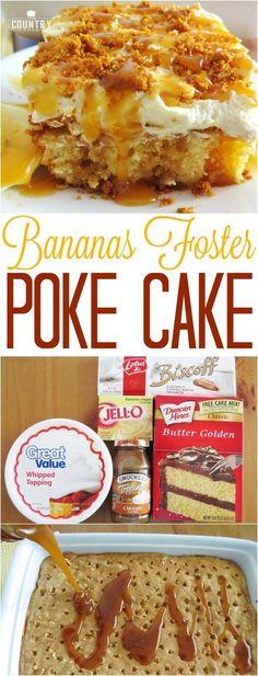 Bananas Foster Poke Cake recipe from The Country Cook  #desserts #recipes #easy #pokecake #bananas #cake