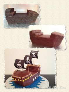 Pirate Ship-3 - I like to use denser cake when carving. There are a number of great pound cake recipes online. Allrecipes.com has a dense chocolate pound cake recipe that works and tastes(at least I think so) good. Or if you want to use a box mix add an extra egg, a box of pudding and decrease your water by a 1/4 cup.Hershey's choc cake