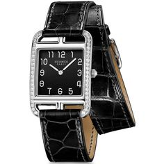 Hermes Cape Cod Quartz Medium GM 043753ww00 Watch ($8,640) ❤ liked on Polyvore featuring jewelry, watches, stainless steel, quartz wrist watch, diamond bezel watches, quartz watches, dial watches and hermès
