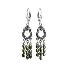 Green Fresh Water Pearl and Marcasite Sterling Silver Earrings