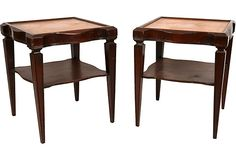 Leather-Topped End Tables, Pair