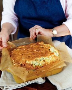 Cheese, Leek, and Herb Souffle Casserole Recipe -- a great dish for Easter brunch