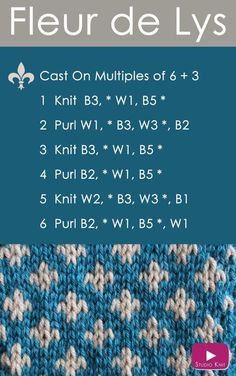 How to Knit the FLEUR DE LYS Easy Free Knitting Pattern 2 Stranded Colorwork #knitstitchpattern #studioknit