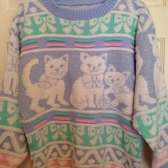 Vtg Pastel Cat Knit Sweater Medium Large Bows 1980s Cat Lady Cutsie Blue Pink | eBay