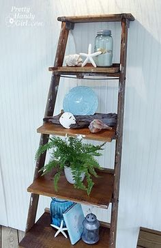 DIY Ladder Display Shelves - Instead of shelling out the big bucks, find an old ladder with charm and make one yourself! Old Ladder, Vintage Ladder, Leaning Ladder, Antique Ladder, Rustic Ladder, Wooden Ladder Decor, Wooden Ladders, Rustic Wood, Ladder Display