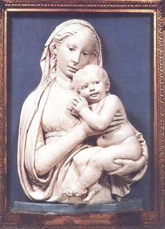 Luca Della Robbia - The Virgin of the Apple (Glazed terra cotta high relief, 1460)