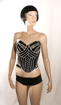 Black 2 tone fetish latex corset ,comic con, armor, sci fi cosume, lady gaga, burning man, steampunk, futuristic clothing