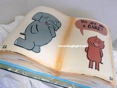 Elephant & Piggie Mo Willems Children's Book cake 6th Birthday Parties, Third Birthday, Birthday Bash, Birthday Ideas, Piggie And Elephant, Bookworm Party, Kids Book Club, Mo Willems, Book Cakes