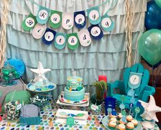 Fantastic dessert table at a whale birthday party! See more party planning ideas at CatchMyParty.com!