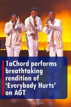 The 1aChord trio from the University of North Carolina Greensboro has recently dominated the stage of America's Got Talent Season 16 with their wonderful rendition of Everybody Hurts by R.E.M. Aside from the beautiful harmony and blending that the trio has shown, you will also see how good their showmanship is when they are on stage. They are indeed a future championship contender for the show. #agt #americasgottalent #music #trio #everybodyhurts #rem #music #song #tvshows Everybody Hurts, It Hurts, America's Got Talent Videos, Fix You Coldplay, Tyra Banks, University Of North Carolina, Looking Back, The Voice, Competition