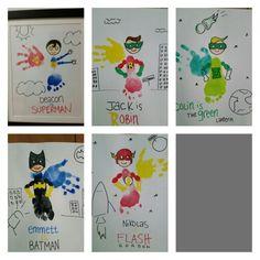 Superhero handprint and footprint art. Daycare Crafts, Baby Crafts, Cute Crafts, Preschool Crafts, Projects For Kids, Crafts For Kids, Fingerprint Art, Footprint Crafts, Handprint Art
