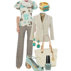 Aqua + Taupe by tajarl on Polyvore featuring polyvore, fashion, style, Jacques Vert, MaxMara, Bertie, MICHAEL Michael Kors, Michael Kors, Kevia and OPI