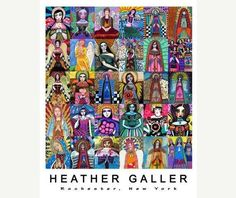 Angel Mosaic Virgin of Guadalupe  Art Print Poster by Heather Galler  Mexican Folk Art by Heather Galler (HG132)