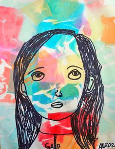 Self Portrait by Aurora of Eugene Oregon 3rd grade, 2013, Tissue paper and sharpie marker. Klee inspired face proportion lesson. This young artist has used much of what her teacher taught her about facial proportions to create a lovely and expressive piece.