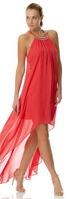Laundry By Shelli Segal Chiffon High-Low Necklace Dress Coral Rage