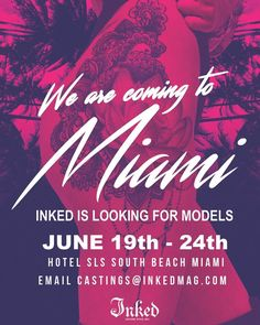 LADIES my friends at INKED MAG are coming to South Beach in two weeks to meet and photograph lovely tattooed ladies. If that sounds like you please email castings@inkedmag.com with recent pics, a little bit about yourself and where our editors should eat when we are in town. #inked #inkedgirls #model #miami #southbeach #tattoo #photography