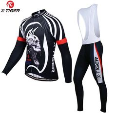 44.99$ Buy now - http://alitv2.worldwells.pw/go.php?t=32723918421 - X-Tiger Brand Ghost Skull Winter Thermal Fleece Cycling Clothing Set/Maillot Cycling Jerseys/Bike Sportswear Ropa De Ciclismo