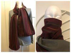 Burgundy Stripe Scarf Mask. Double Layered. Reversible. Hood. Wrap. Shawl. #Handmade