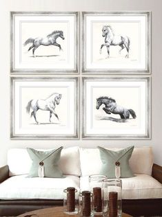 Meridith Martens Horses - This set of eight pen and ink studies of horses in motion is by the North Carolina artist Meridith Martens.