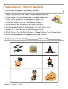 happy halloween following directions and conceptual terms - Halloween Following Directions