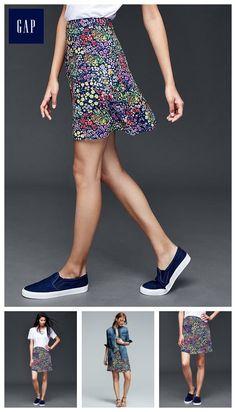 Garden floral flippy skirt