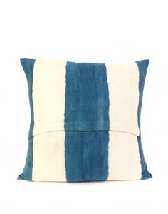 Fair Trade Indigo & Natural Striped Mud Cloth Pillow