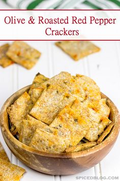Homemade crackers are an impressive (and easy) recipe for holiday entertaining. These Olive and Roasted Red Pepper Crackers are one of my favorites!