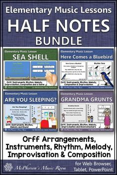 Elementary Music Lessons & Orff Arrangements for Half Notes {Bundle} Music Teachers, Teaching Music, Music Education, Orff Arrangements, Elementary Music Lessons, Music Lesson Plans, Music Activities, Highlight, Curriculum