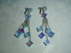 vintage vendome blue ab crystal cubes by qualityvintagejewels, $228.00