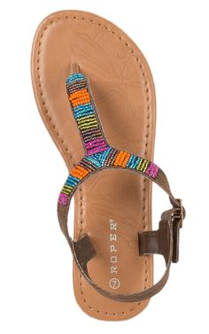 Roper Women's Metallic Brown with Multicolor Beads Ankle Strap Flat Sandal | Cavender's