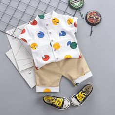 Polka Dot Blouse and Color Block Shorts Set Cute Baby Boy Outfits, Matching Family Outfits, Baby Outfits Newborn, Baby Boy Newborn, Kids Outfits, Cute Baby Pictures, Cute Toddlers, Kids Fashion Boy, Baby Dress