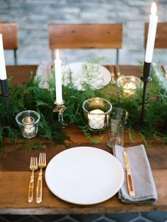 Fresh Green Winter Wedding Table Setting