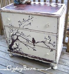 Artistically painted chest of drawers dresser with bird on tree branch, chic shabby cottage style