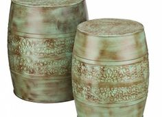 Patina Flower Garden Stool Set