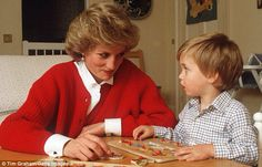 Diana plays with Prince William in the nursery at Kensington Palace.