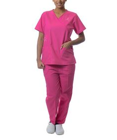 Fuchsia Ribbon Surplice Scrub Top & Pants - Plus Too by Sherly Uniforms #zulily #zulilyfinds