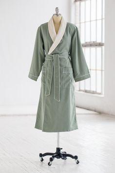 377b97a094 Classic Spa Robe - Terry Cloth   Microfiber - Seafoam Creme