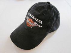 HARLEY DAVIDSON Men's Black AUSTRALIA Logo Baseball Cap Hat One Size