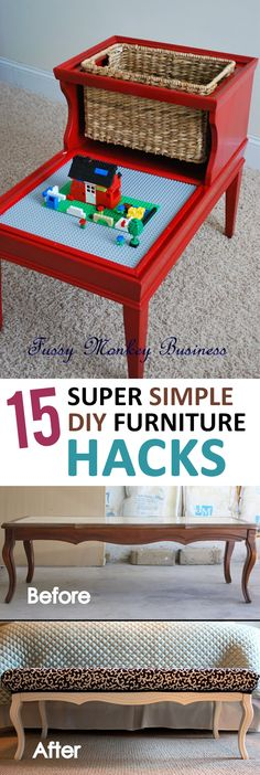 Simple and easy furniture remodeling hacks. Diy Furniture Hacks, Homemade Furniture, Simple Furniture, Furniture Makeover, Furniture Removal, Outdoor Furniture, Upcycled Home Decor, Repurposed Furniture, Diy Home Decor