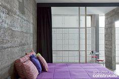 Revista Arquitetura e Construção - Copan 50 anos: concreto e preto em destaque, Muito concreto aparente, pastilhas pretas, bancada, viga, coluna