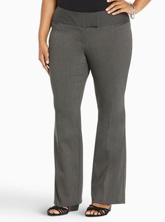 """<div><div>This Slim Boot Pant is your new Monday-Friday uniform. The desk-ready style keeps it cool in crisp, clean, a-little-stretchy, heather grey Millennial Stretch fabric. We love the slimming, streamlined silhouette of the flat front two-button closure, not to mention the leg-lengthening slight flare at the knee and the built-in, booty-boosting yoke.</div></div><div><ul><li style=""""LIST-STYLE-POSITION: outside !important; LIST-STYLE-TYPE: disc !important"""">Mid-rise</li><li…"""